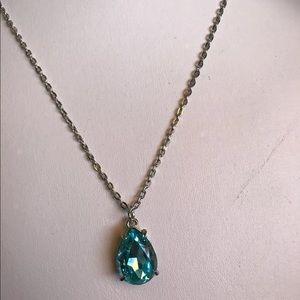 Jewelry - Aqua Color Big Faux Diamind Pendant 18 Inch Chain